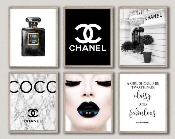 Digital Files Instant Download A Set Of 6 Digital Chanel Posters Two Sizes Included 8x10 16x20 A Set Of Chanel Wall Art Chanel Decor Coco Chanel Poster