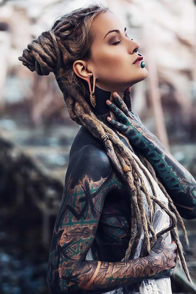 Dreadlocks Today 45 Hairstyles For Creative Ones Lovehairstyles Blackout Tattoo Body Suit Tattoo Tattooed Girls Models