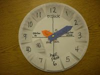 Telling Time: use 2 paper plates - The top plate had the regular numbers listed, the plate behind had the numbers by 5's.