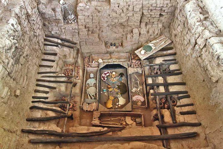 Tomb of the Lord of Sipan in Chiclayo, Peru contains reproductions of riches that were found in the grave in 1987, said to rival those of King Tut