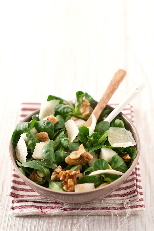 Pear, Walnuts, & Parmesan Salad | Spring Salad Mix, Walnuts, Shaved Parmesan cheese, Pears into cubes,  Oil, lemon juice and salt to taste.