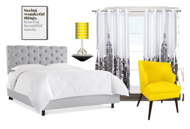 Bedroom yelloow by maffaldacunha on Polyvore featuring interior, interiors, interior design, home, home decor, interior decorating, Skyline, Giclee Glow, Exclusive Home and bedroom
