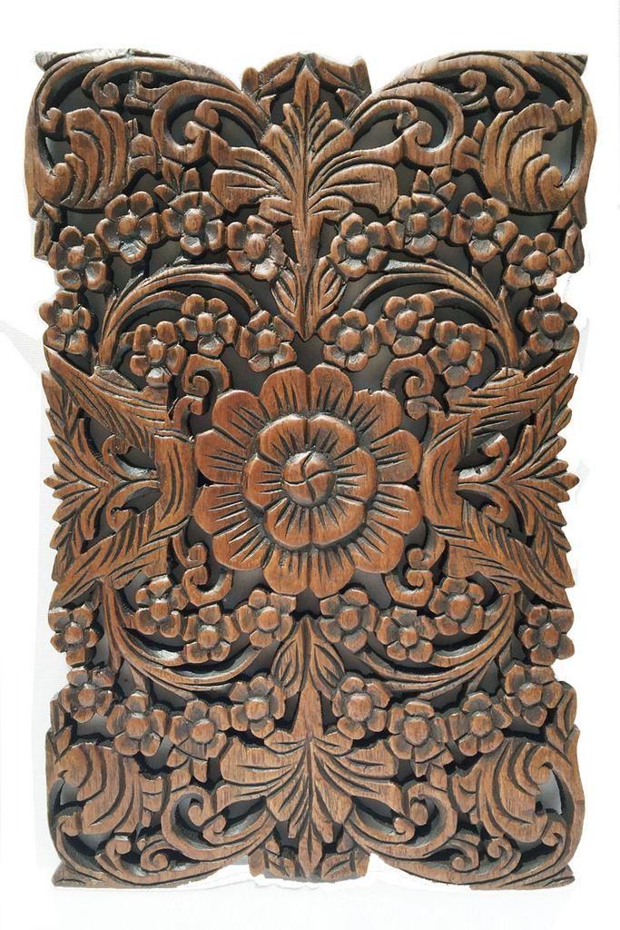 Wood Wall Art Decor Part - 20: Wood Wall Decor Lotus Flower.Oriental Home Decor. Decorative Wall Panel  Sculpture. Hand