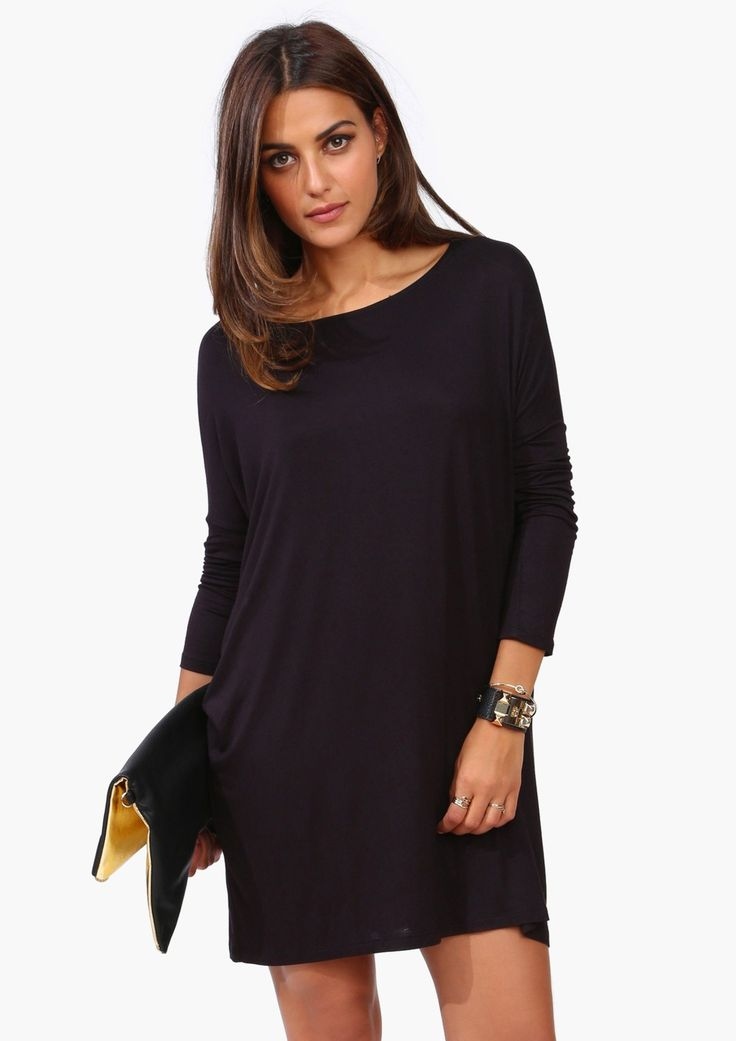 Walking Through The Front Door Seeing Your Black Dress Part - 22: Simple Black T Shirt Dress.