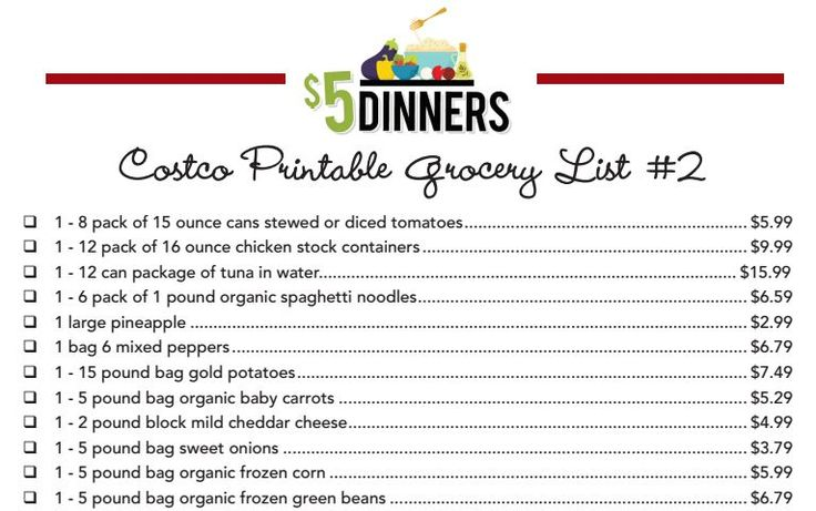 Costco printable grocery list 20 Meals at Costco for $150 ...