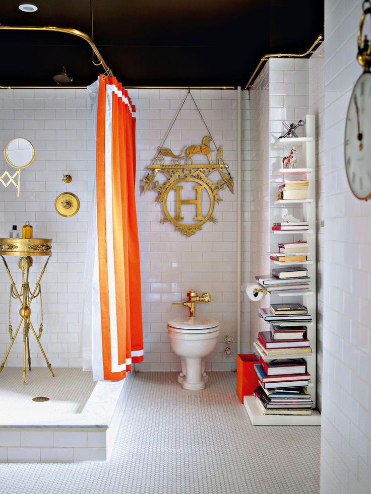 25 Best Eclectic Bathroom Design Ideas. Orange Shower CurtainsBold ...