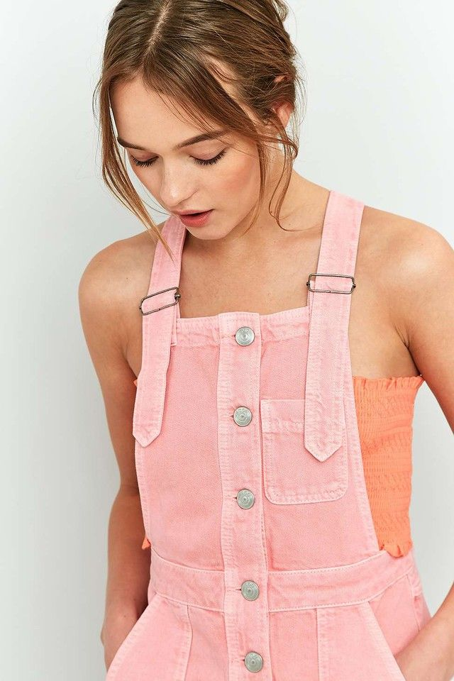 Simple Styling Tips To Flatter Your Face Shape - Pink Courduroy Strappy Dungarees Jumpsuit One Piece With Orange Bandeau Top