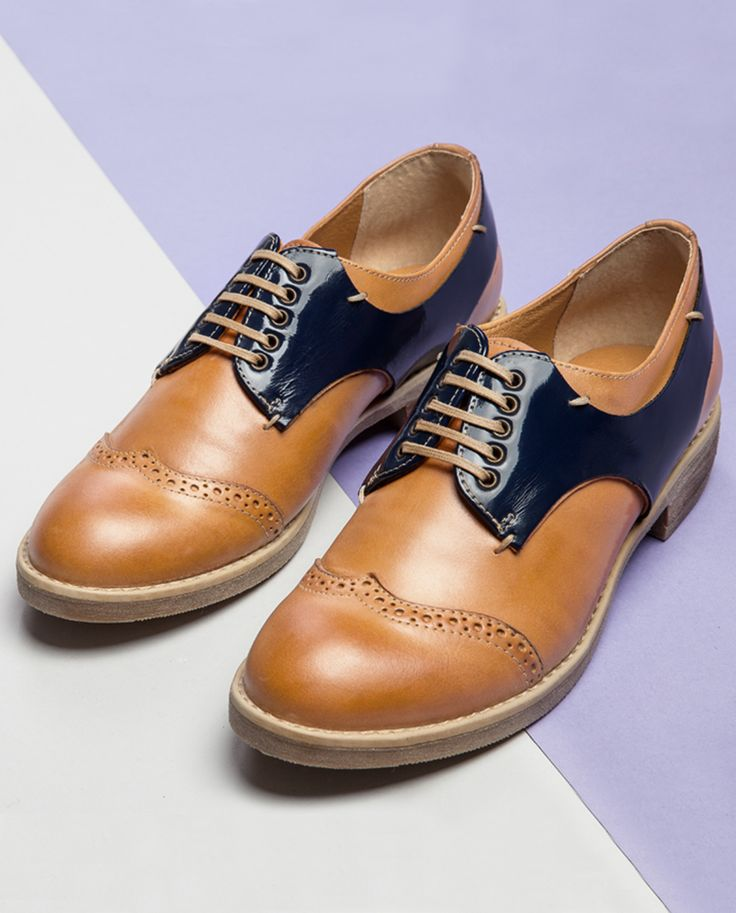 Tan brogues with blue detail #shoes #brogues