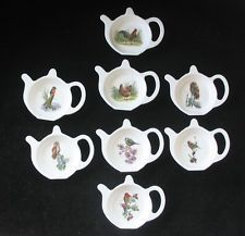 british teapot teabag holder   TEAPOT SHAPED MELAMINE TEA BAG TIDY SPOON UTENSIL HOLDER 8 LOVELY BIRD ...