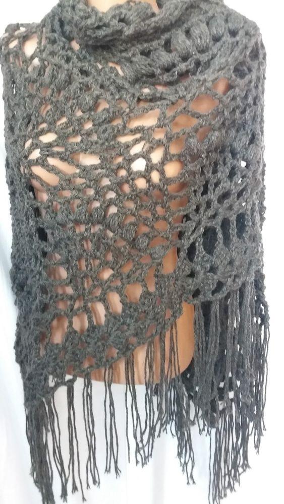 New unique hand knit crochet handmade wool shawl wrap charcoal grey #Handmade #ShawlWrap