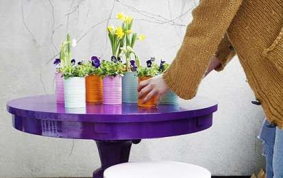 Rinnovare un vecchio tavolo - Tavolo viola