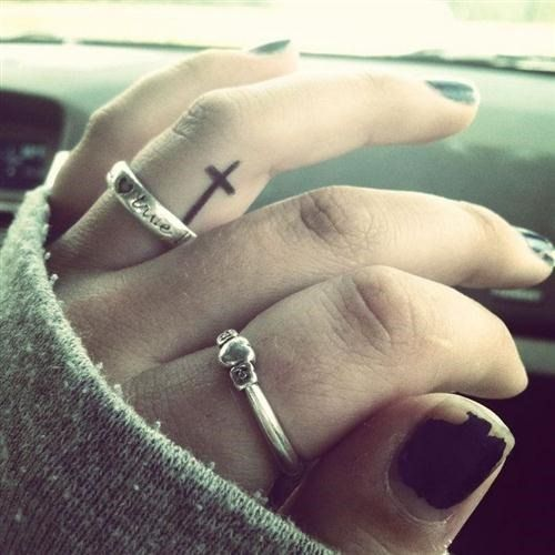 Simple Cross Tattoo on Finger for Girls