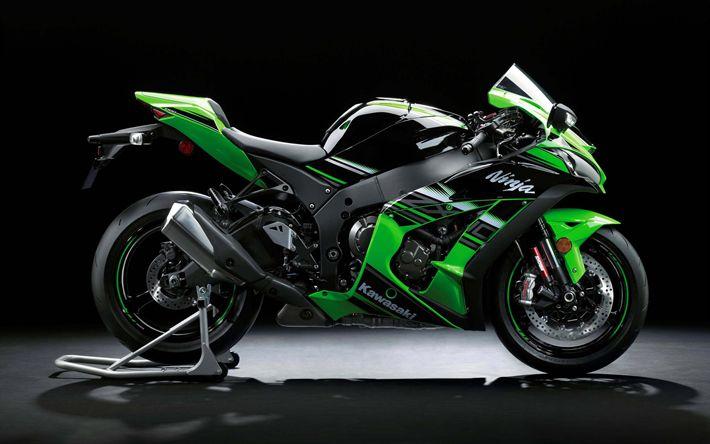 Télécharger fonds d'écran Kawasaki Ninja ZX-10R, en 2017, des vélos, des superbikes, japonais de motos, Kawasaki