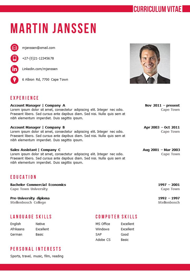 Resume / CV Template in MS Word. 2 color versions in 1 (blue & red), incl 2nd page template and matching cover letter templates. Fully editable files. https://gosumo-cvtemplate.com/product/cv-template-cape-town/