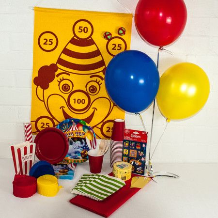 Circus Theme Party Package. Great value delivered to your door. http://www.qualitytimepartysupplies.com.au/shop/party-packages/circus-party-package/