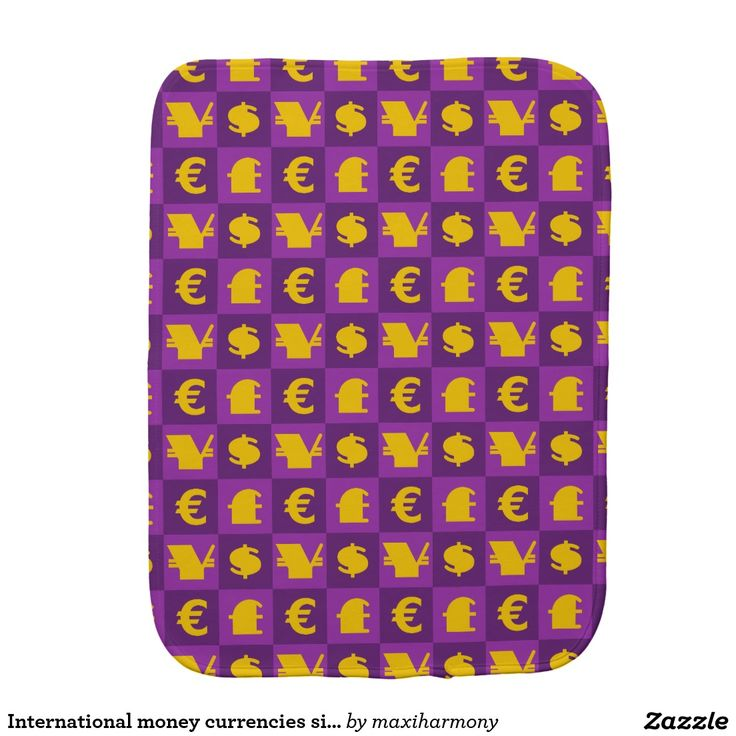 International money currencies signs pattern baby burp cloth