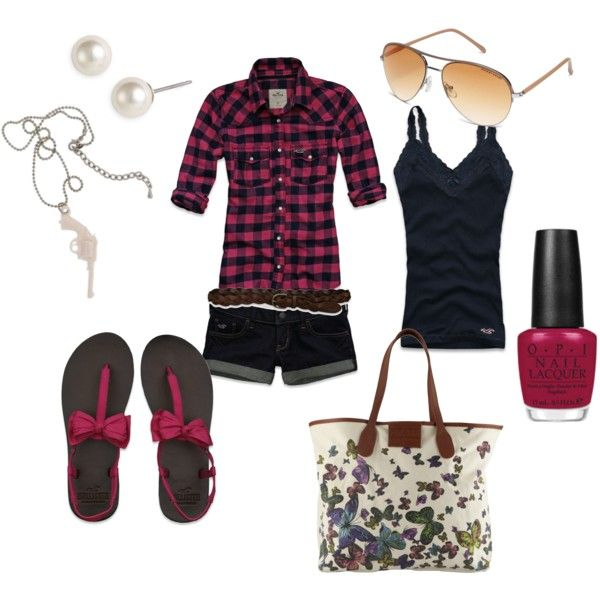:): Plaid Buttons Down, Kaseybeaulieu, So Cute, Shirts, Shorts, Polyvore, Sneakers, Bags, Hollister Flannels