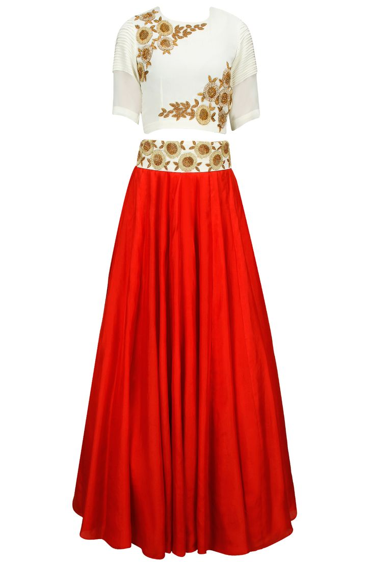 Red and off white embroidered lehenga set available only at Pernia's Pop-Up Shop.