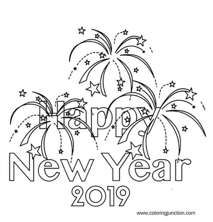 New Year 2019 Coloring Images Printable Holidays Coloring Pages