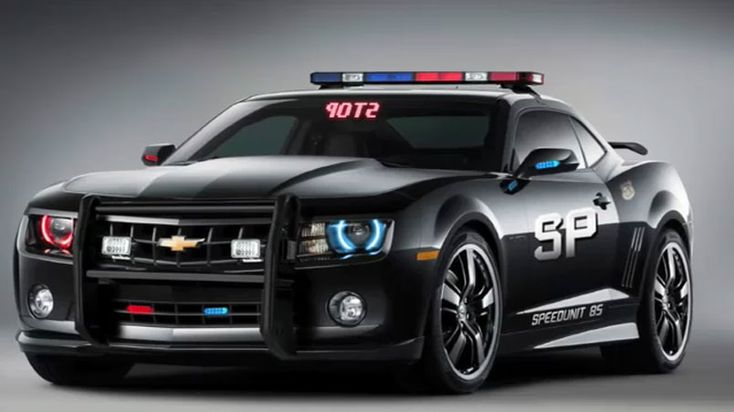 """Awesome 2010-12 Chevy Camaro Police Car Cruiser. It also has a stop indicator on the front and back windshields. That's very clever indeed...especially since """"STOP"""" on the front is written backwards so that it reads correctly in your rearview mirror if you should unfortunately get pulled over by this thing. #chevy #police #camaro"""