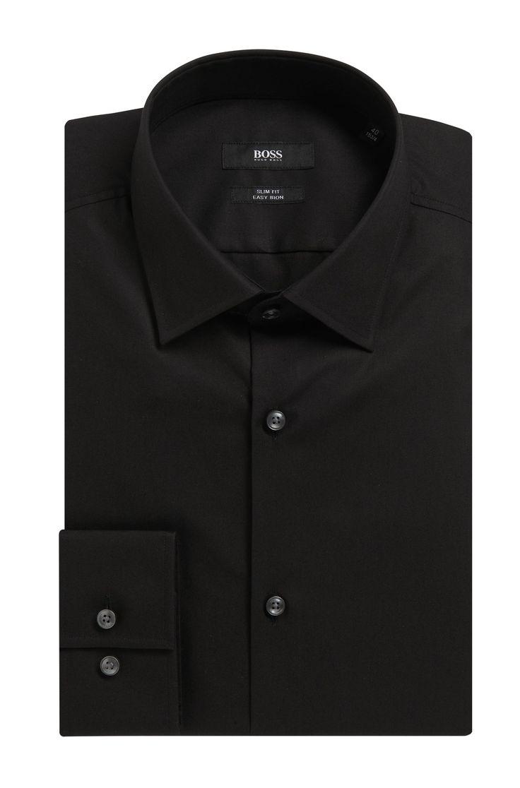 Unifarbenes Slim-Fit Hemd aus Baumwolle: 'Jenno', Schwarz