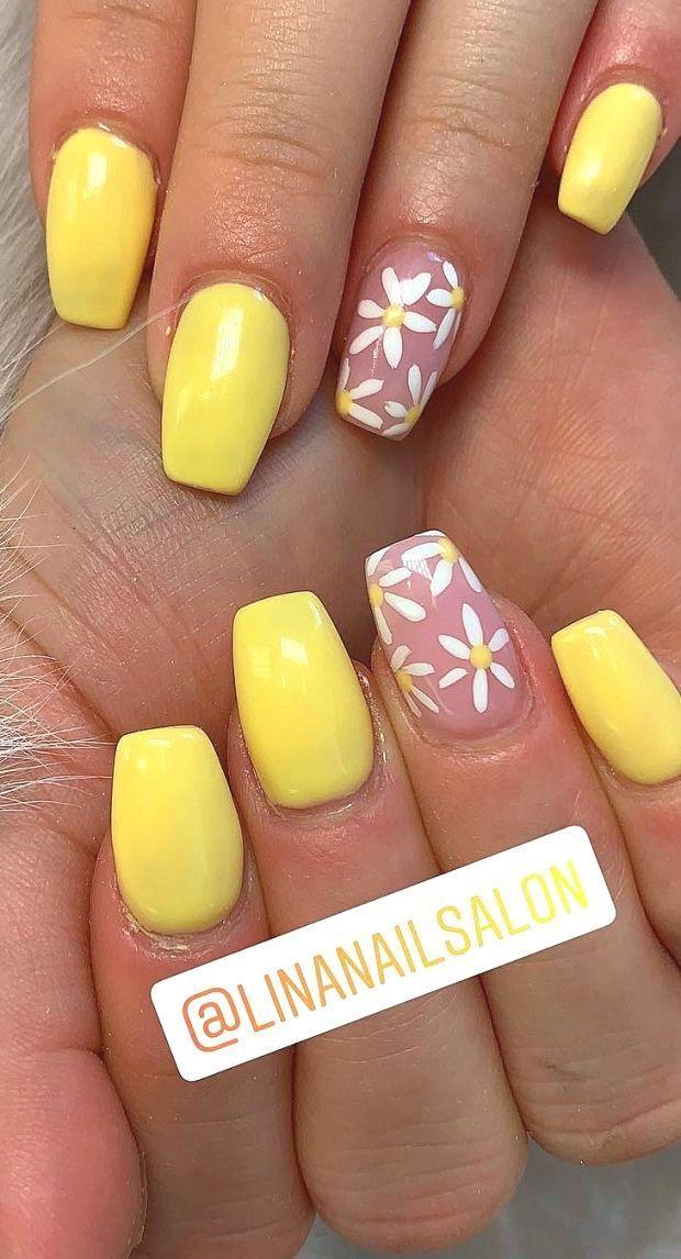 45 Polished Coffin And Matte Acrylic Nails Designs Short Yellow Nail Ideas We Short Acrylic Nails Coffin Abbey Blog In 2020 Yellow Nails Yellow Nails Design Acrylic Nail Designs