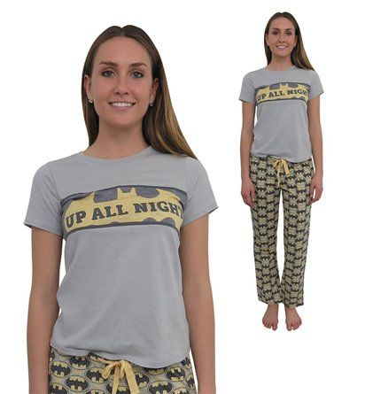 Batman stays up late. And you, but only if you're wearing the Batman All-Over Print Women's 2-piece Pajama Set! Cool PJs help you stay awake. Buy now!