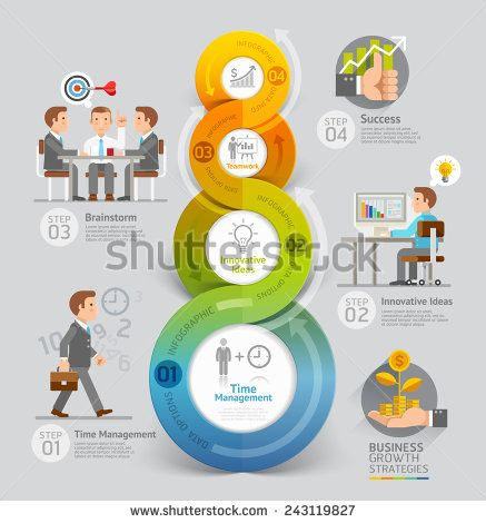 Business Growth Strategies Concept. Vector illustration. Can be used for workflow layout, banner, diagram, number options, step up options, web design, timeline, infographic template - stock vector