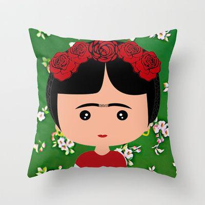 Frida Kahlo Throw Pillow by Creo tu mundo - $20.00