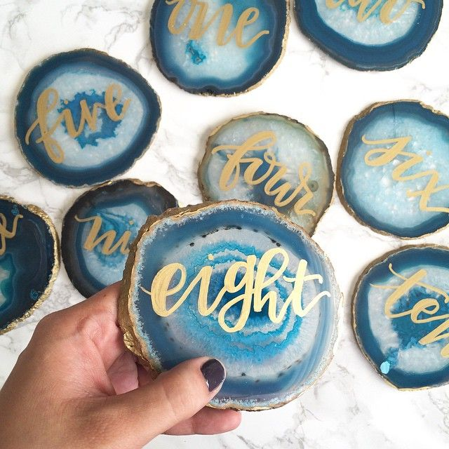 Another glimpse of tomorrow's Palm Springs wedding: agate table numbers. #handlettering #flourishforum #curiouscalligrapher