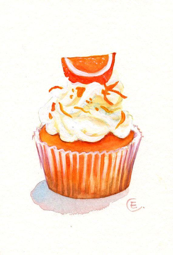 Cupcake 18 - Original Watercolor Painting 8x6 inches. $25.00, via Etsy.