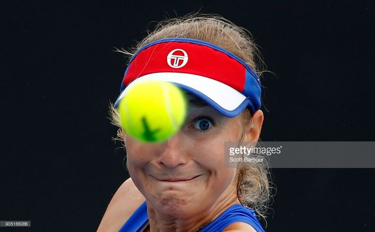 Ekaterina Makarova of Russia watches the ball in her first round match against Irina-Camelia Begu of Romania on day one of the 2018 Australian Open at Melbourne Park on January 15, 2018 in Melbourne, Australia.