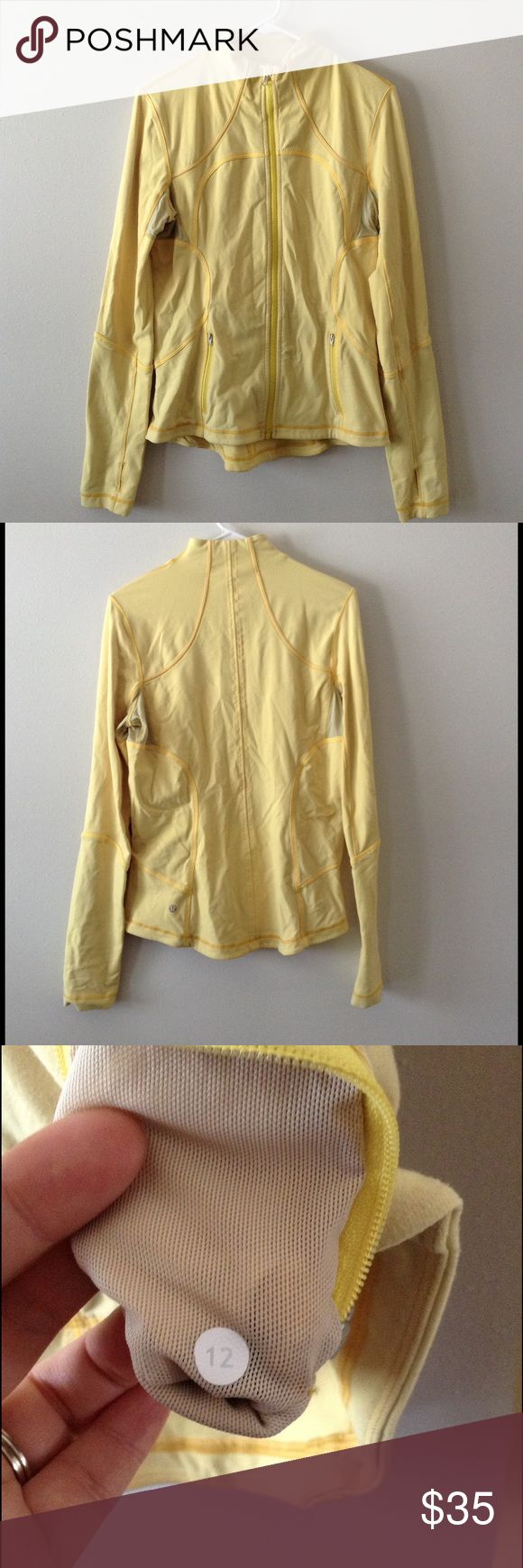 Lululemon yellow Define jacket 🚨PRICE IS FIRM and priced to sell🚨. Used and in good condition. There are some signs of wear such as normal laundering & fading in color. However there are no rips, stains or major flaws. Still lots of life left. Has thumb holes as shown in last pic. lululemon athletica Jackets & Coats