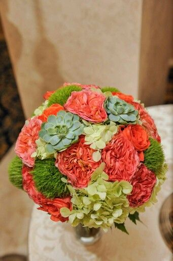 Orange, green, wedding bouquet