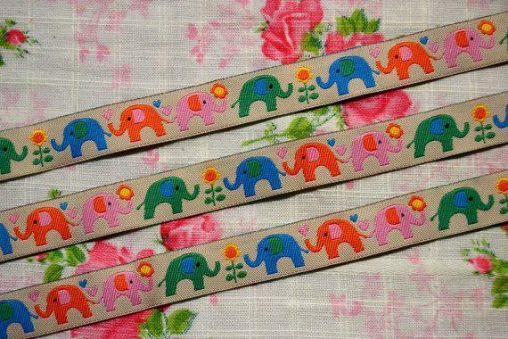 Elephant Ribbon  Sewing tape 1 meter3937 by NamiSupplies www.taikalandia.com https://www.etsy.com/shop/NamiSupplies