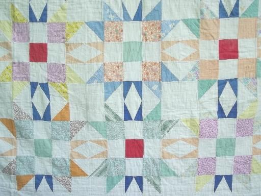 old patchwork quilts in pink & green, vintage star pattern quilt lot
