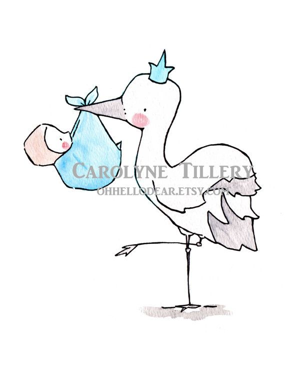 Stork Queen/King 8x10 Nursery Art Illustration by ohhellodear