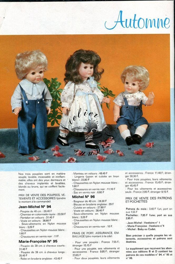 Page Poupée Modes et Travaux , Septembre 1977 Marie Françoise , Jean Michel