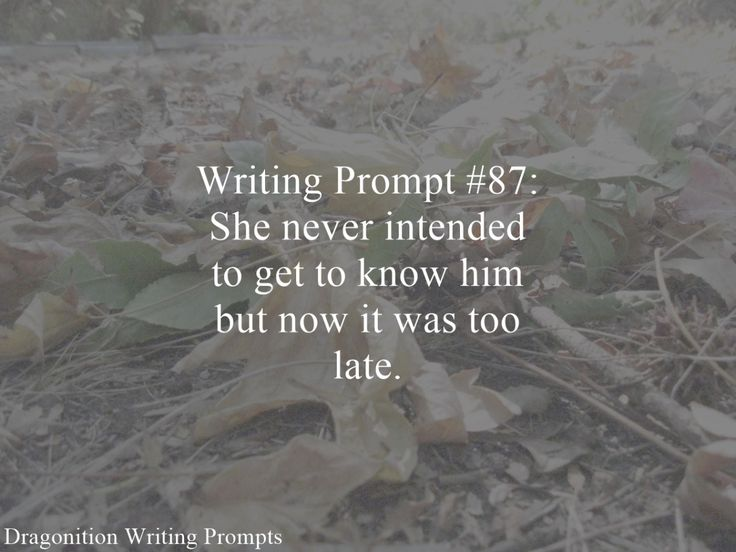 Writing Prompt #87: She never intended to get to know him but now it was too late.