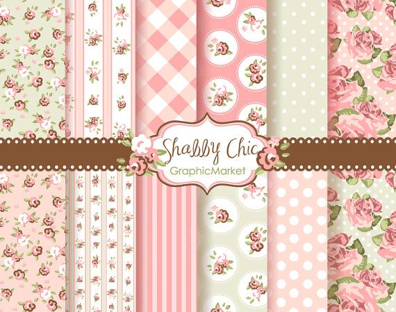 12 Shabby Chic Rose Digital Scrapbook Paper pack by GraphicMarket, $4.99