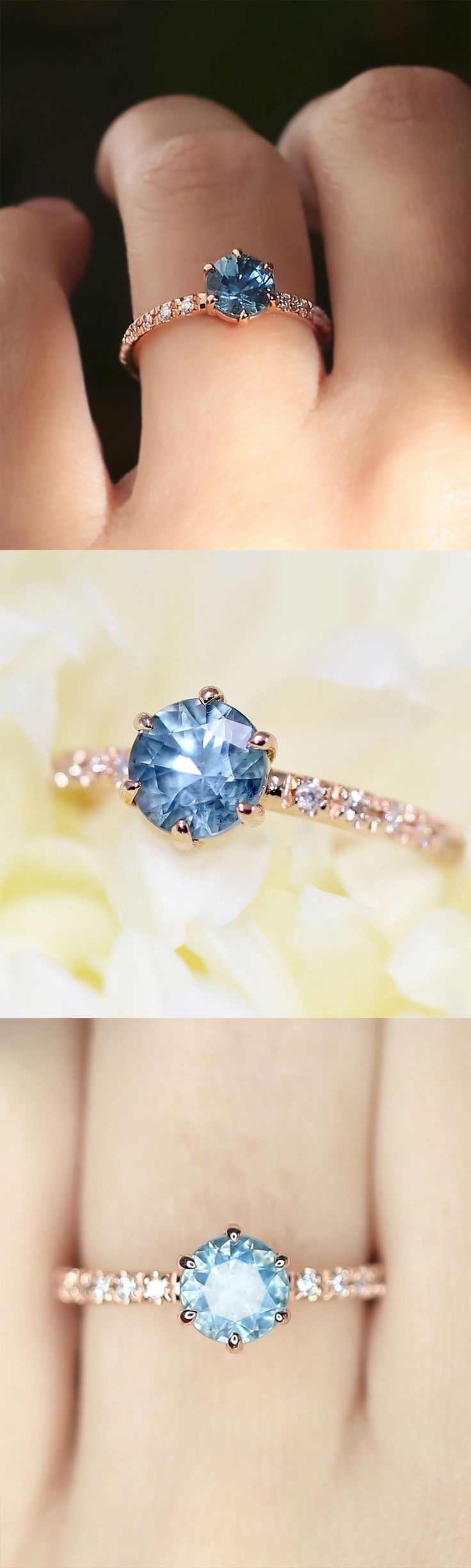 We set this lovely Blue Montana Sapphire in our modern interpretation of a Georgian style Collet ring. The glowing blue, grey, and green colors of this unique 1.20 carat Montana Sapphire are perfectly complimented by the six prong 14k recycled Rose Gold setting. The band is handset with vintage Single Cut Diamond pavé for additional glamour and sparkle. The overall effect is both classic and modern.