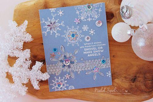 Nichol Spohr LLC: Simon Says Stamp January 2017 Card Kit | Snowflake Inlay Border Card
