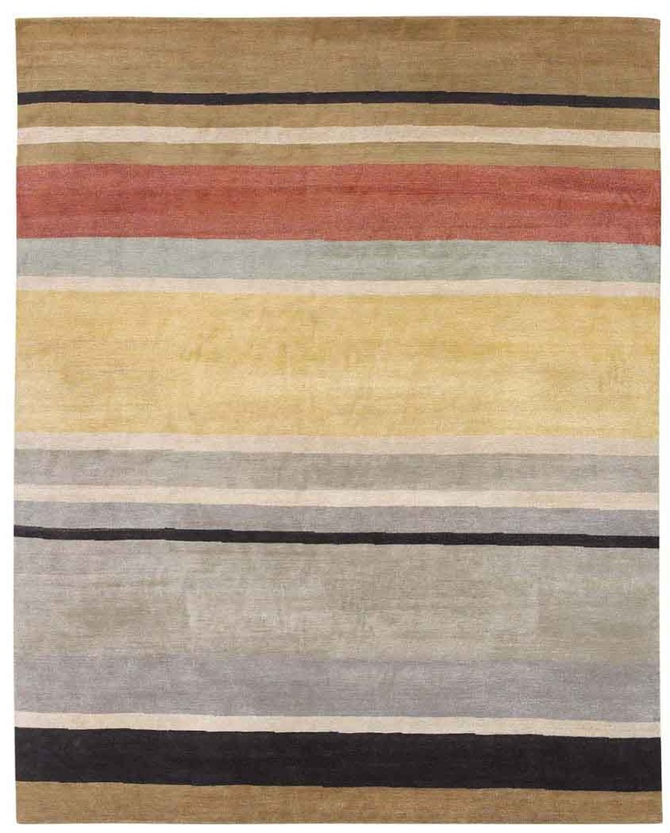 New Moon Rug   Tangent, Brown/red. A Striped Motif Featuring Tan,