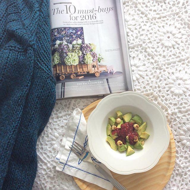 #salad #avocado #lemonjuice #raspberriesreduction made with #raspberries #honey and #honeyvinegar #oliveoil #hazelnuts #healthyfood #glutenfree #sugarfree #livingetcuk #anossamorada #eatwelllivemore