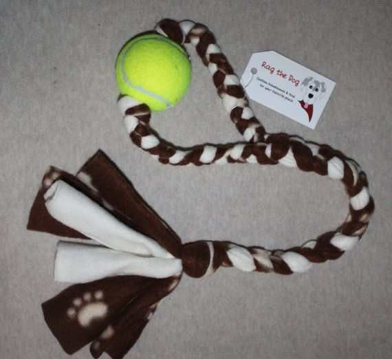 Brown & Beige Pawprint Braided Fleece Rope Pull Toy with Tennis Ball for Dog