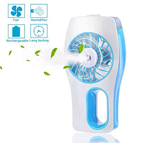 Handheld Fan,Portable Mini Misting Personal Cooling Fan, Cooling Humidifier with Soft Wind and Ultra-quiet for Travel,Home,and Office (Blue)  Functional misting fan: USB mini cooling fan and beauty humidifier 2 in 1, hand misty fan for lasting your makeup or cooling after exercise  UlTRA-QUIET FAN: different from most of desktop mini fans on the market which are noisy,high quality motor and unique design makes CTLpower mini fan ULTRA QUIET in the office.  Mini fan with 3 modes: first-f...