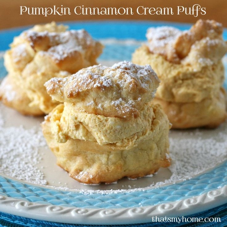 Pumpkin Cinnamon Cream Puffs. Cream puffs filled with a pumpkin cinnamon spice filling with a hint of maple. The filling is so light it melts in your mouth!