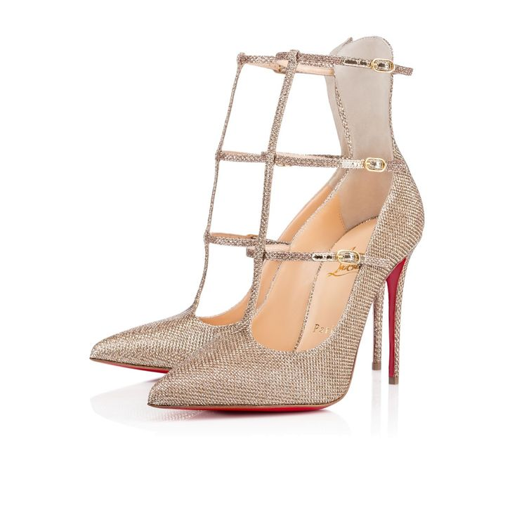 Love these shoes by CHRISTIAN LOUBOUTIN Toerless Muse 100 Gold ...