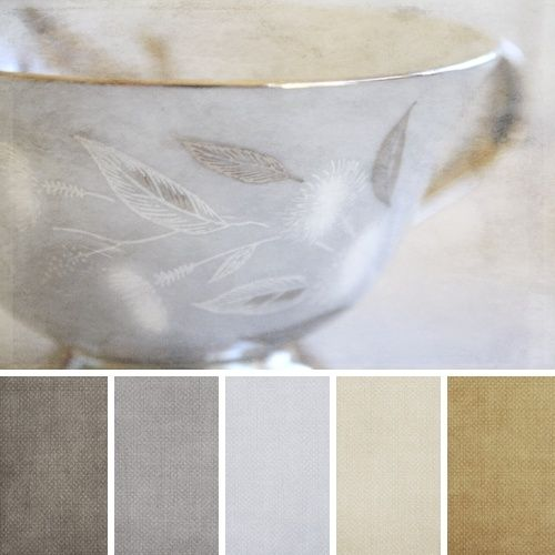 Master bath color pallet. Gold, gray, blue, taupe, beige.