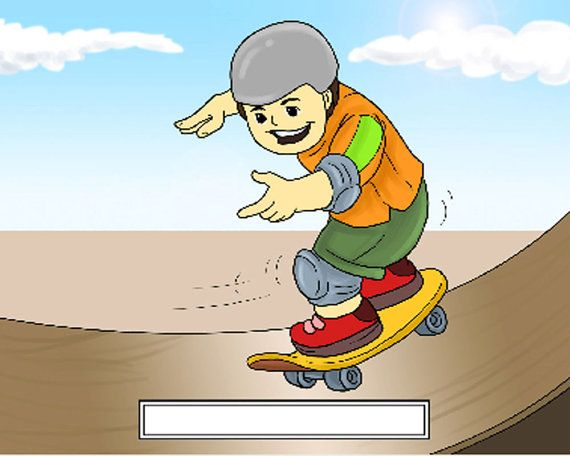 Skateboarder Male Cartoon Character Personalized by MahoneyLane